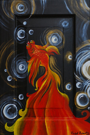 Fishy Face II Acrylic on recycled cabinet door.