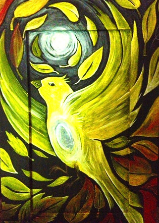 Bird of Peace I Acrylic on recycled cabinet door.