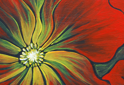 Poinsettia- Acrylic on recycled cabinet door.