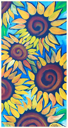 Sunflowers Make Me Happy! Acrylic on pine board