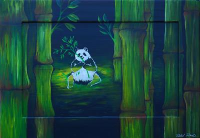 Panda in Bamboo Acrylic on recycled cabinet door
