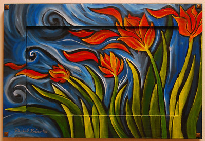 Petals on the Wind I -  Acrylic on recycled cabinet door