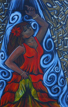 Duende - The Art of Flamenco Acrylic on recycled cabinet door.
