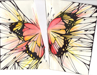 Butterfly - sharpie and watercolor