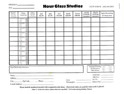 Hour Glass Studios order form
