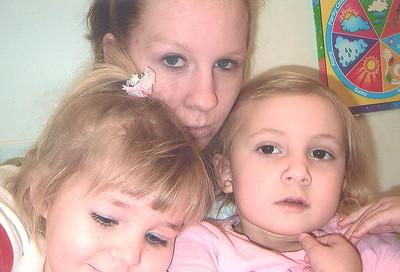 Rachel with teacher Miss Amanda and friend Paige
