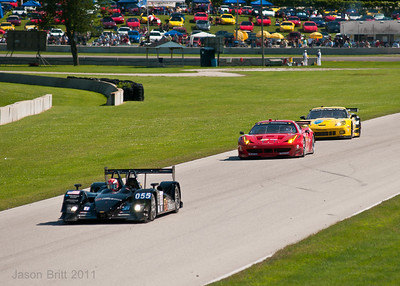 The #4 Corvette C6R chasing down the #62 Ferrari 458 coming out of turn 3 at Road America.