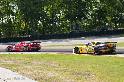 The #4 Corvette C6R chasing down the #62 Ferrari 458 coming out of turn 6 at Road America.