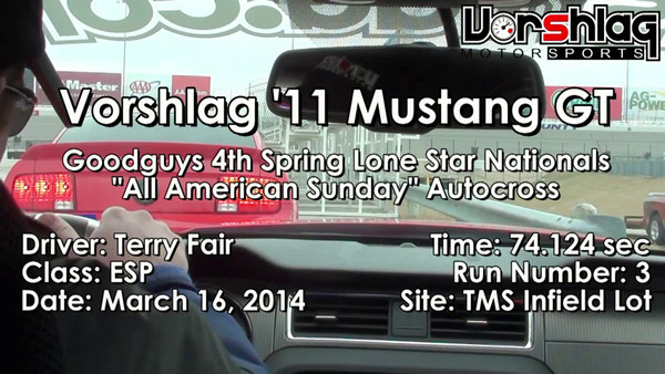 Terry's 3rd and winning autocross run at the March 16th Goodguys All American sunday autocross