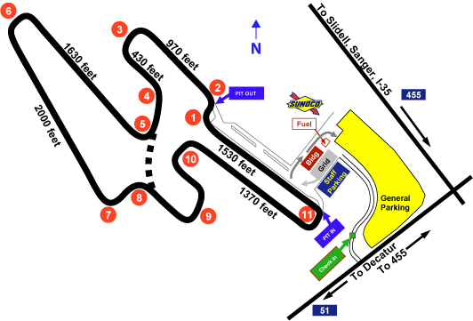 The track map for the 2.5 mile Eagles Canyon Raceway circuit