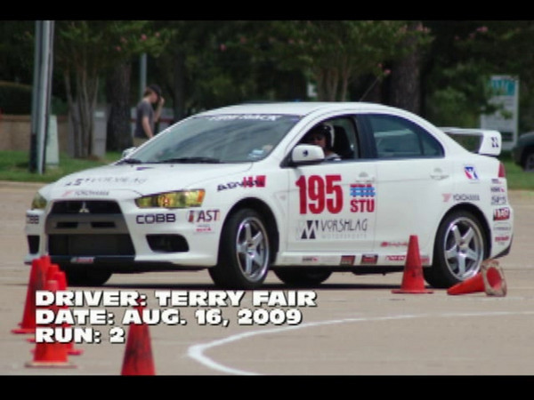 Terry driving the Evo at an SCCA Regional. Amy and Terry PAXed 15th and 16th out of 126, but the car can do better. We didn't get good recordings of Amy's runs or Terry's much faster Run 3 or 4.