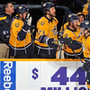 NASHVILLE, TN - JANUARY 05:  Gabriel Bourque #57 of the Nashville Predators is congratulated by his teammates on scoring his first career NHL against the Dallas Stars at the Bridgestone Arena on January 5, 2012 in Nashville, Tennessee.  (Photo by Frederick Breedon/Getty Images)