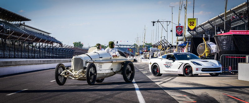 1914 Mercedes Benz Grand Prix , 1915 Indy Winner, at Brickyard w/2015 Corvette Pace car