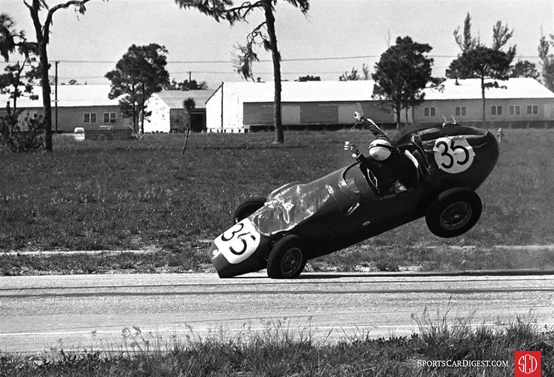 Jean Lloyd flips her Stanguellini during the Formula Jr. race.  She was not seriously injured.  (Photo: AP wire)