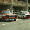 In the pits at Zanvoort in 1973.  2 Broadspeed 2 liter Escorts, Guisipi Rici car (31) and John Hansons car (29)