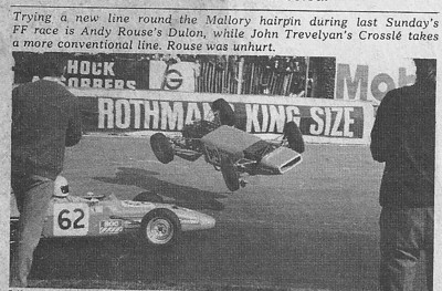 After a spill at Mallory Park at the hairpin with John Trevelyans Crossle Andy and his flying Dulon made the Autosport pages and was shown in a huge backdrop picture at one of the racing car shows at Earls Court the following Year. Fortunately there was little damage to car or driver.
