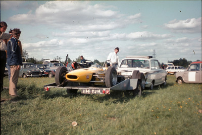 My Lotus Cortina with the formula Ford Dulon LD4C in tow, Andy in the white shirt and Robin Benyon looking on with the blue striped jacket.