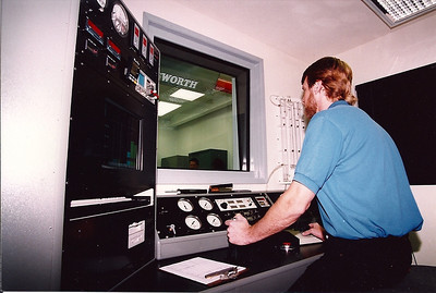 Wayne Wall at the dyno controls