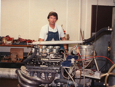 Larry Slutter the Cosworth VP at the time is testing at Parnelli's dyno a DFV Cosworth F1 Historic engine that I had just rebuilt