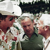 Jim Hall, Keith Duckworth and Colin Chapman confer at Indy. A classic photo that I cannot claim to have taken.