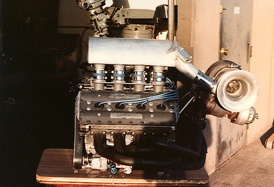 This is a completed DFX engine just back from the dyno for Bob Watkins to check over. If I remember correctly this was a house engine we built up from misc parts and used it a lot to test Turbochargers that were pretty unrestricted in those days.