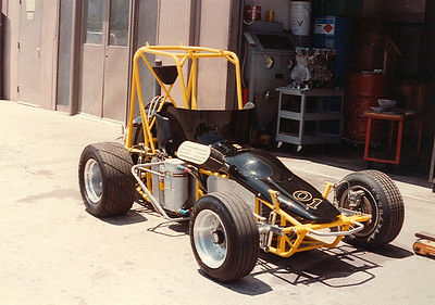 Art Laskey's Midget racer with Cosworth BDP power outside the Oregon Court Facility.