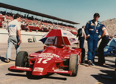 Billy Checks over his Super Vee Ralt car prior to qualifying at Phoenix raceway.