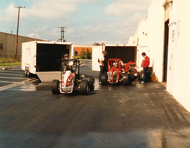Both Howard Midgets are checked over at the back of the Oregon Court Cosworth facilty in 1980