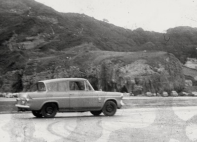 Early days of ownership, I painted the wheels black. On Pendine Sands in South Wales.
