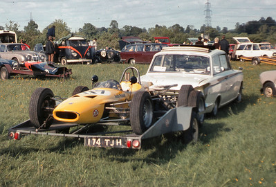 The paddock at Castle Combe. I spent all my money on my road cars and Andy spent all his on the race car, my trusty 1964 Lotus Cortina towed us everywhere, and quickly! Power with a 1760cc Twin cam!