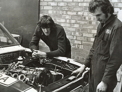 Both of us worked at Broadspeeds through the70's. here Andy is working on installing an engine I had built.