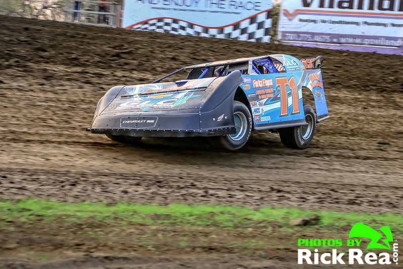 Tom Corcoran pulling hard with wheels up in his WISSOTA NLRA Late Model,