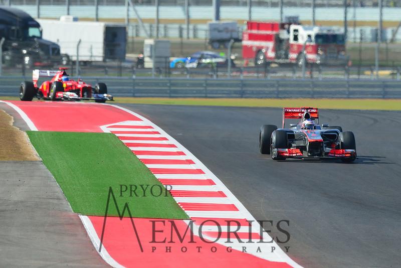 Fernando Alonso hot on the heels of Jenson Button