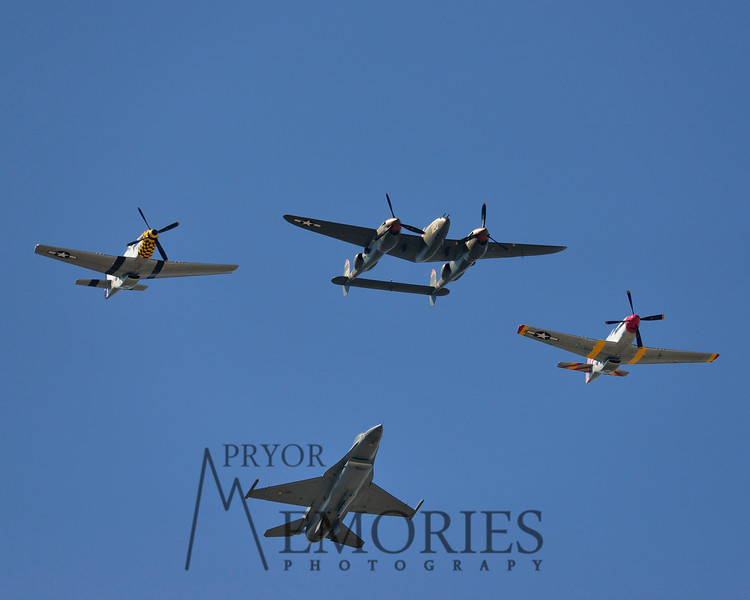 Race day flyover, an F16, a P38 and two P51 Mustangs!