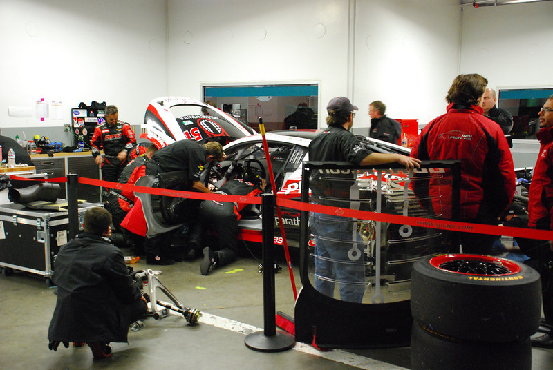 Hard at work trying to get the #51 Audi R8 back on track