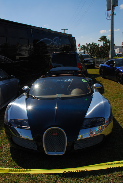 Here's the winner of the best personal car floating around the infield. Walking by the owner/driver RV area, we happened to see this beauty, a Bugatti Veyron.