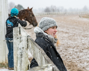 Marissa Short of Tommy Short Racing watching horses in the snow 11.27.18 at the Thoroughbred Training Center, Lexington, KY