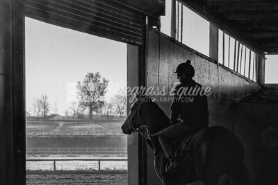 Derrick Short of Tommy Short Racing Stables heads out to the track to work one of their horses, early morning 11.23.18 at The Toroughbred Training Center, Lexington Kentucky. Photo by Laura Palazzolo