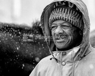 Billy, a groom and hot walker with Tommy Short Racing. Working in the snow and 27º weather at the Thoroughbred Training Center 11.27.18.