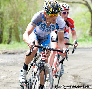 2011 Boone-Roubaix.  Big loop lap1; first unpaved section. Sheedy attacks, Baker goes with him.