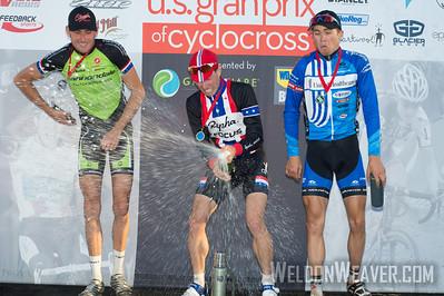 2012 USGP Louisville. Men's podium. POWERS Jeremy RAPHA-FOCUS, TREBON Ryan Cannondale/Clement, SUMMERHILL Daniel UCI CT: Chipotle Development Te
