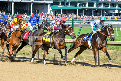 She's Got It All (Warrior's Reward) takes an early lead in Race 5, opening day at Churchill Downs. She's Got it all finishes 4th. Chris Landeros up, trained by D. Wayne Lukas and owned by Churchill Downs Racing Club.