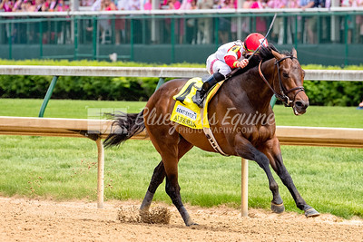 Backyard Heaven (Tizway) wins the Alysheba Grade II Stakes Oaks Day at Churchill Downs, 05/04/18. Irad Ortiz, Jr. up, Chad Brown trainer, owned by Kenneth and Sara Ramsey.