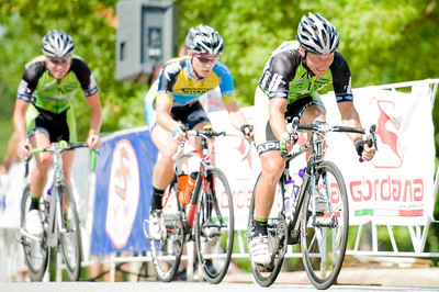 The final selection: Harkey, Townsend and Flynn.  August 7, 2011 Crossroads Classic Stage 5 Criterium Salisbury, NC. Photo by Weldon Weaver