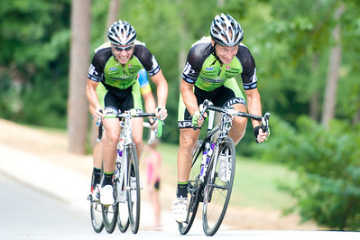 Chris Harkey, David Flynn. August 7, 2011 Crossroads Classic Stage 5 Criterium Salisbury, NC. Photo by Weldon Weaver