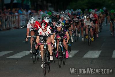 Lap Leader Debbie Milne (Absolute Racing-MSMOC) leads the field. 2012 Terrapin Twilight Women's race.