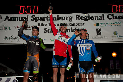 Men's race podium: ast place Jake Keough (United Healthcare Professional).  2nd place Carlos Alzate (Team Exergy).  3rd place Robert Forster (United Healthcare Professional). 2012 Spartanburg Regional Classic.