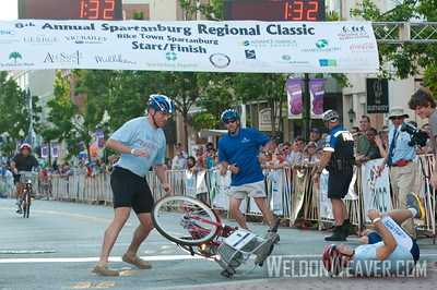 Action during the bike-share bike relay. 2012 Spartanburg Regional Classic.