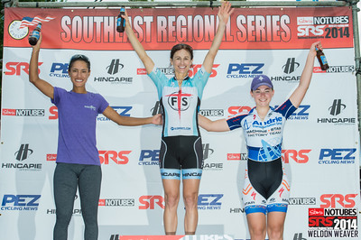 Women Pro 1/2/3 Podium.  2014 SRS Greenville.  Photo by Weldon Weaver.
