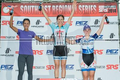 Women Pro 1/2/3 Podium.  2014 SRS Greenville.  Photo by Weldon Weaver.